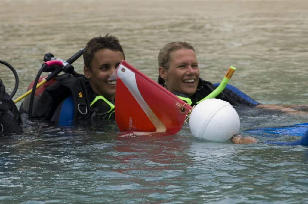 Dive pro's with buoy on Malapascua